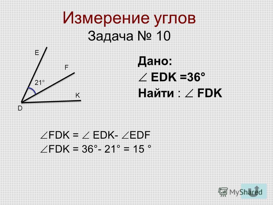 Измерение углов Задача 10 Е F K 21° D Дано: EDK =36° Найти : FDK FDK = EDK- EDF FDK = 36°- 21° = 15 °