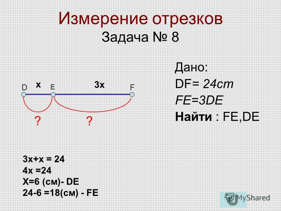 Измерение отрезков Задача 8 DF E Дано: DF= 24cm FE=3DE Найти : FE,DE ? ? х 3 х 3 х+х = 24 4 х =24 Х=6 (см)- DE 24-6 =18(см) - FE