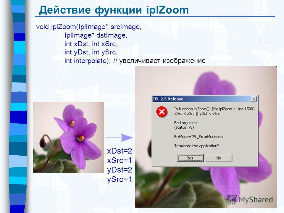 Действие функции iplZoom xDst=2 xSrc=1 yDst=2 ySrc=1 void iplZoom(IplImage* srcImage, IplImage* dstImage, int xDst, int xSrc, int yDst, int ySrc, int interpolate); // увеличивает изображение