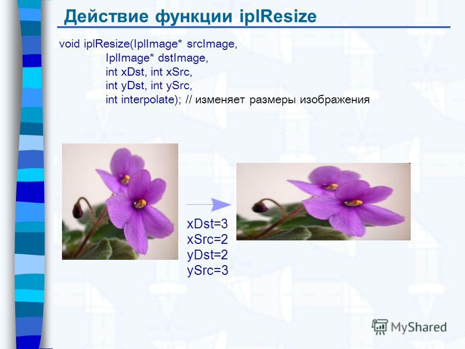 Действие функции iplResize void iplResize(IplImage* srcImage, IplImage* dstImage, int xDst, int xSrc, int yDst, int ySrc, int interpolate); // изменяет размеры изображения xDst=3 xSrc=2 yDst=2 ySrc=3