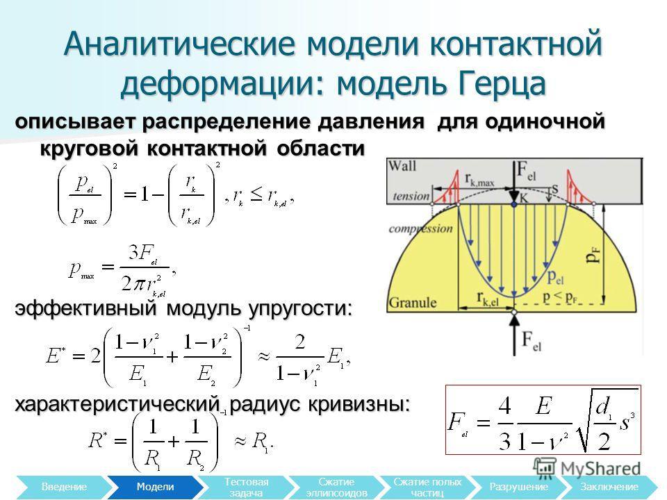 Аналитические модели контактной деформации: модель Герца описывает распределение давления для одиночной круговой контактной области эффективный модуль упругости: характеристический радиус кривизны: 5 Введение Модели Тестовая задача Сжатие эллипсоидов