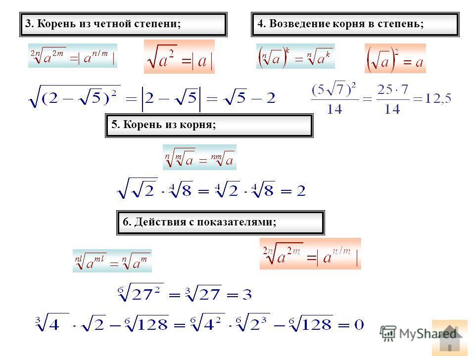 3. Корень из четной степени;4. Возведение корня в степень; 5. Корень из корня; 6. Действия с показателями;