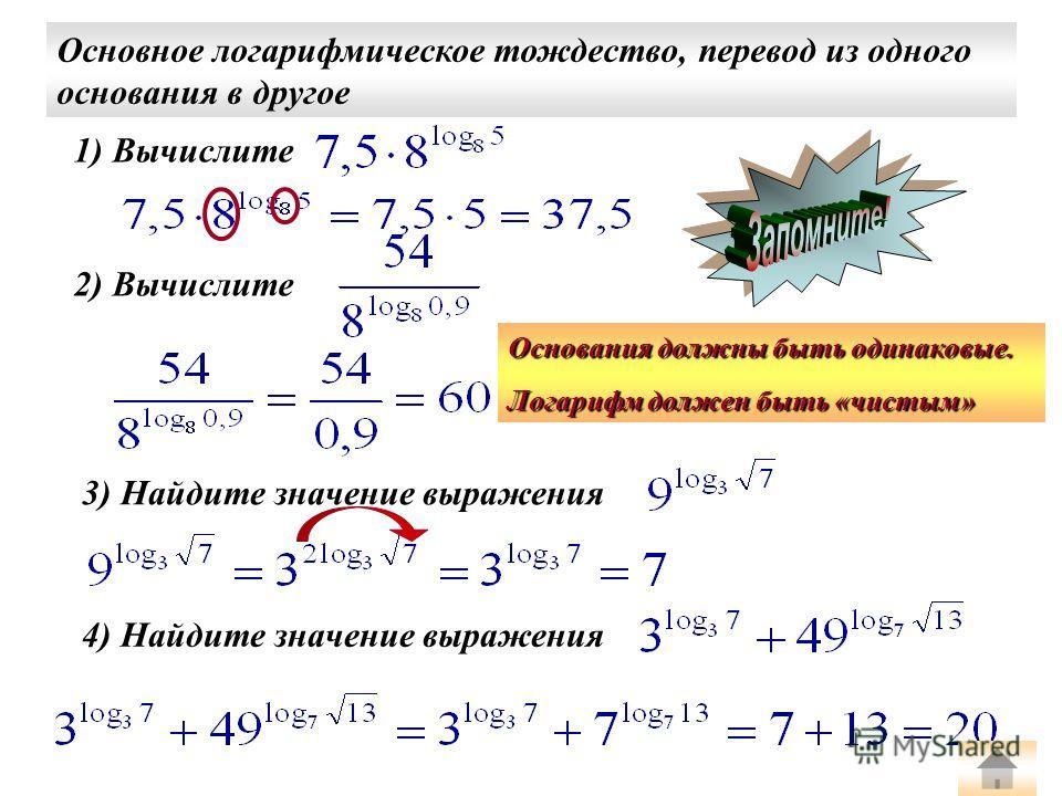 1) Вычислите Основное логарифмическое тождество, перевод из одного основания в другое 2) Вычислите 3) Найдите значение выражения 4) Найдите значение выражения Основания должны быть одинаковые. Логарифм должен быть «чистым»