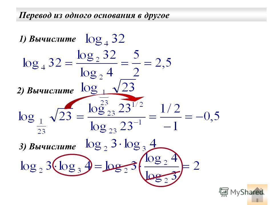 Перевод из одного основания в другое 1) Вычислите 2) Вычислите 3) Вычислите