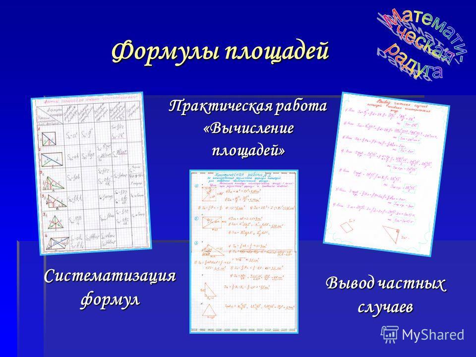 Формулы площадей Систематизация формул Вывод частных случаев Практическая работа «Вычисление площадей»