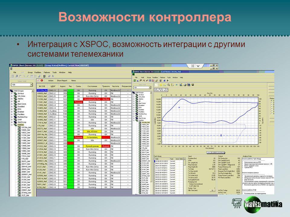 Возможности контроллера Интеграция с XSPOC, возможность интеграции с другими системами телемеханики