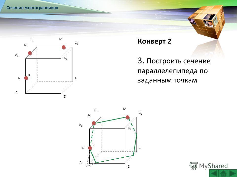 LOGO Конверт 2 Сечение многогранников 3. Построить сечение параллелепипеда по заданным точкам A B C D A1A1 B1B1 C1C1 D1D1 K N M A B C D A1A1 B1B1 C1C1 D1D1 K N M