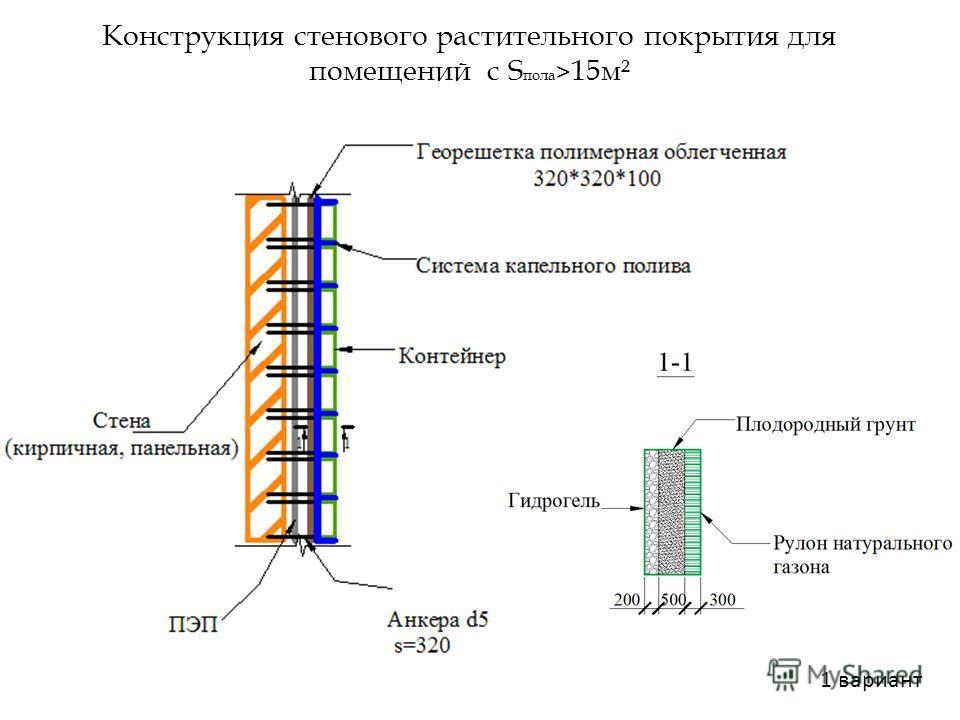 Конструкция стенового растительного покрытия для помещений с S пола > 15 м² 1 вариант