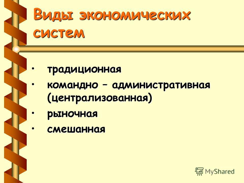 Виды экономических систем традиционная командно – административная (централизованная)командно – административная (централизованная) рыночная смешанная