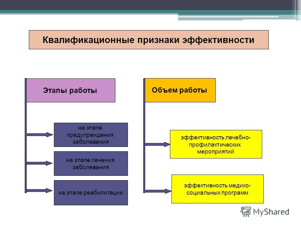 Квалификационные признаки эффективности Этапы работы Объем работы на этапе предупреждения заболевания на этапе лечения заболевания на этапе реабилитации эффективность лечебно- профилактических мероприятий эффективность медико- социальных программ