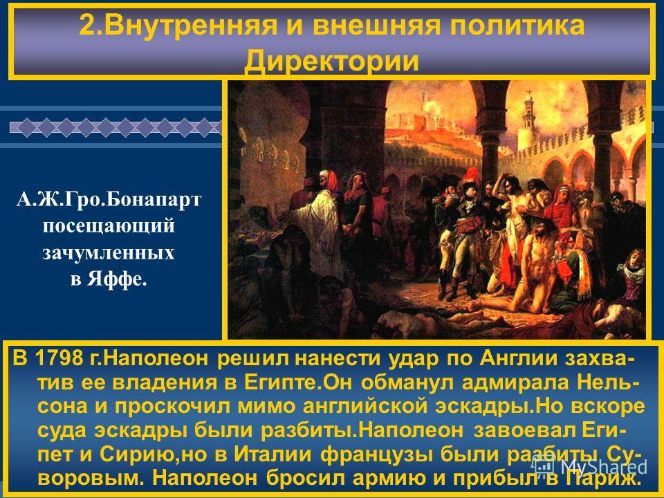 ЖДЕМ ВАС! 2. Внутренняя и внешняя политика Директории В 1798 г.Наполеон решил нанести удар по Англии захватив ее владения в Египте.Он обманул адмирала Нель- сона и проскочил мимо английской эскадры.Но вскоре суда эскадры были разбиты.Наполеон завоева