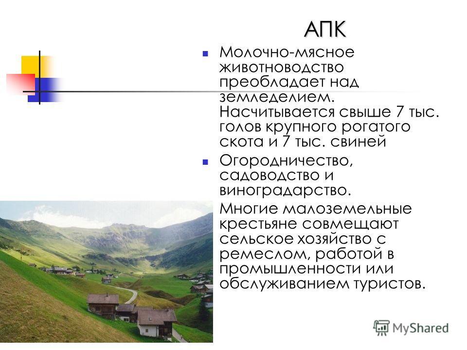 АПК Молочно-мясное животноводство преобладает над земледелием. Насчитывается свыше 7 тыс. голов крупного рогатого скота и 7 тыс. свиней Огородничество, садоводство и виноградарство. Многие малоземельные крестьяне совмещают сельское хозяйство с ремесл