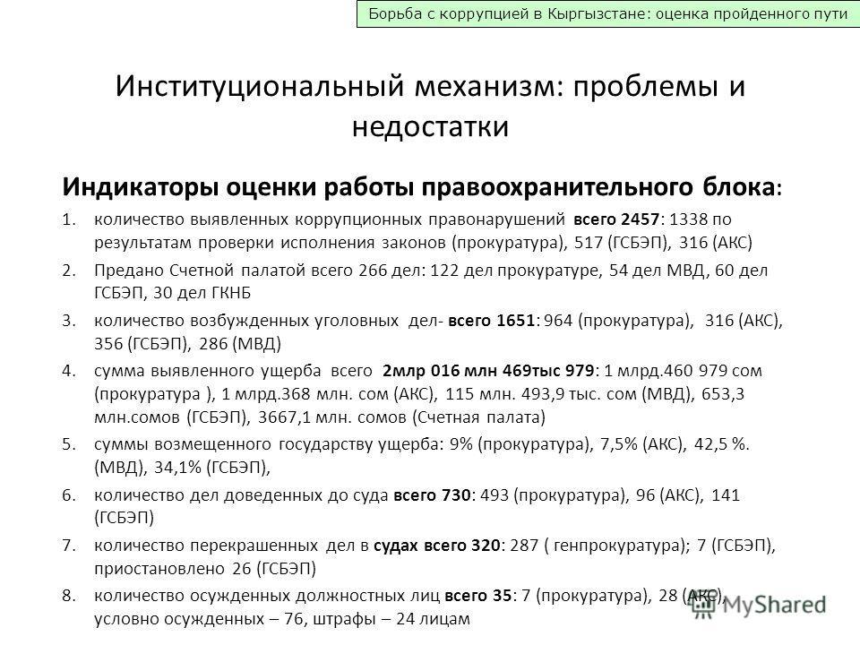 Борьба с коррупцией в Кыргызстане: оценка пройденного пути Институциональный механизм: проблемы и недостатки Индикаторы оценки работы правоохранительного блока : 1. количество выявленных коррупционных правонарушений всего 2457: 1338 по результатам пр