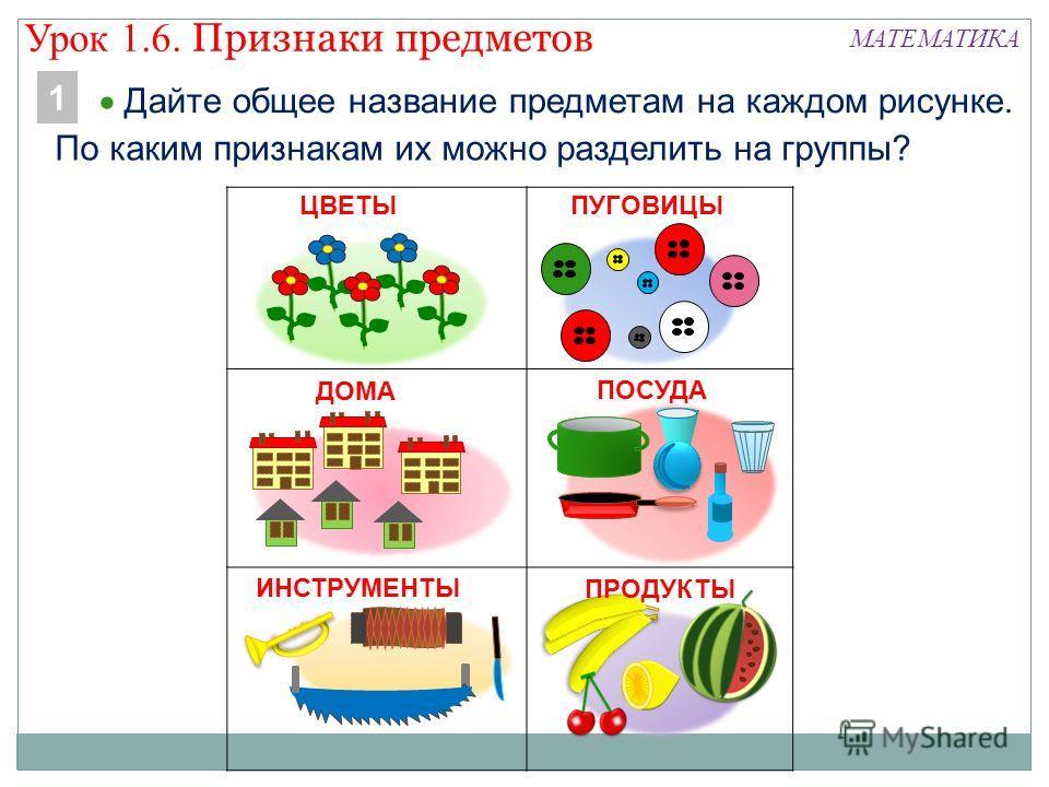 МАТЕМАТИКА Дайте общее название предметам на каждом рисунке. 1 По каким признакам их можно разделить на группы? ЦВЕТЫ ПУГОВИЦЫ ДОМА ПОСУДА ИНСТРУМЕНТЫ Урок 1.6. Признаки предметов ПРОДУКТЫ