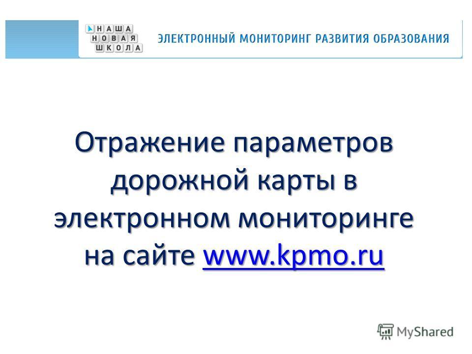 Отражение параметров дорожной карты в электронном мониторинге на сайте www.kpmo.ru www.kpmo.ru
