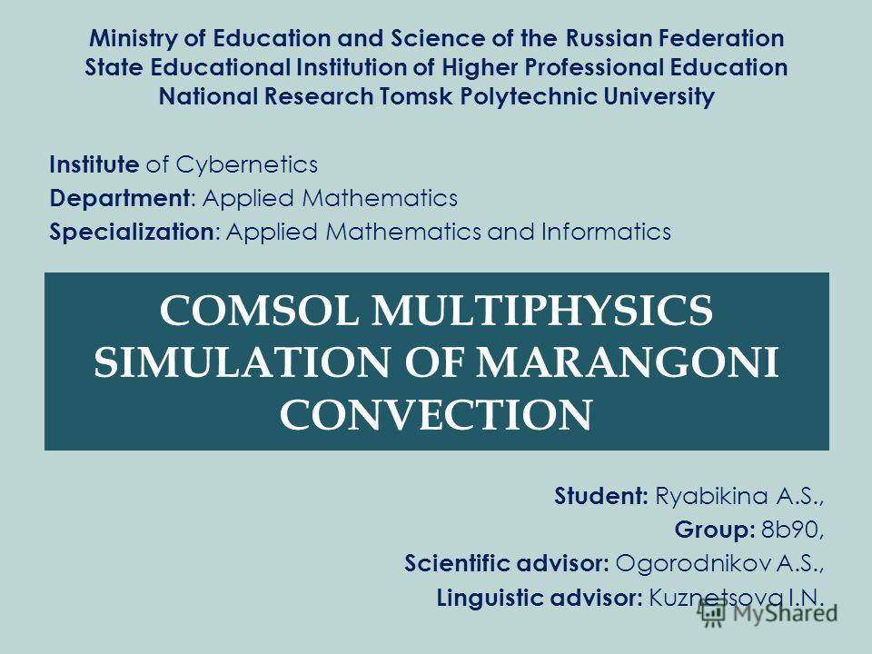 Ministry of Education and Science of the Russian Federation State Educational Institution of Higher Professional Education National Research Tomsk Polytechnic University Institute of Cybernetics Department : Applied Mathematics Specialization : Appli