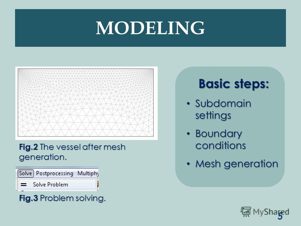MODELING 5 Fig.2 The vessel after mesh generation. Basic steps: Subdomain settings Subdomain settings Boundary conditions Boundary conditions Mesh generation Mesh generation Fig.3 Problem solving.
