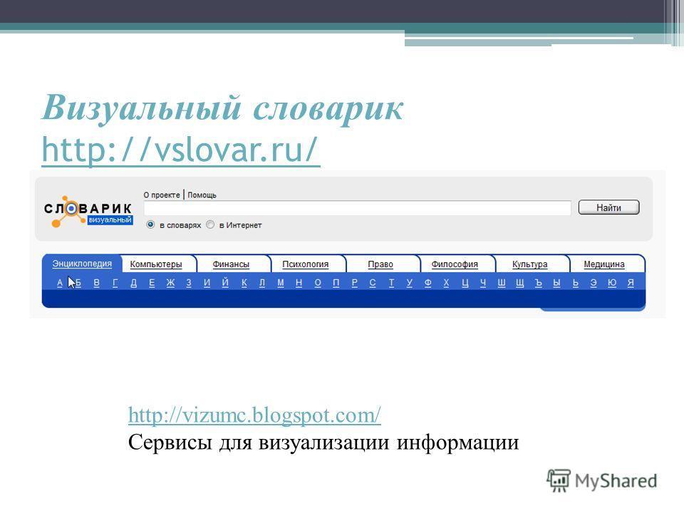 Визуальный словарик http://vslovar.ru/ http://vslovar.ru/ http://vizumc.blogspot.com/ Сервисы для визуализации информации