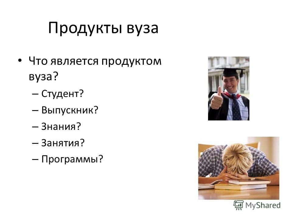 Продукты вуза Что является продуктом вуза? – Студент? – Выпускник? – Знания? – Занятия? – Программы?
