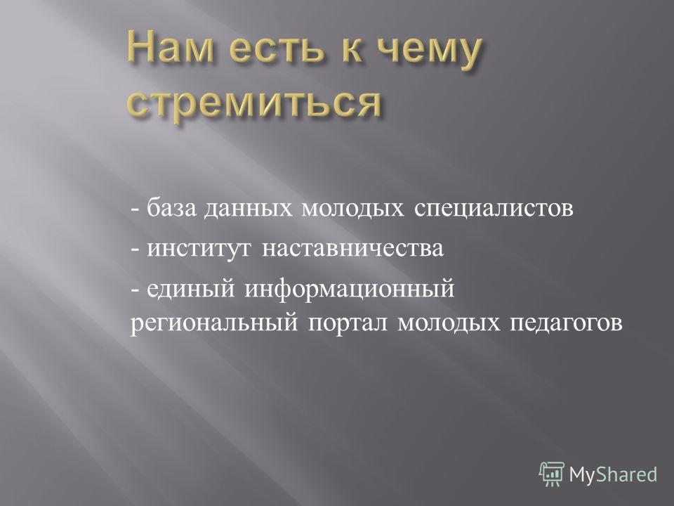 - база данных молодых специалистов - институт наставничества - единый информационный региональный портал молодых педагогов