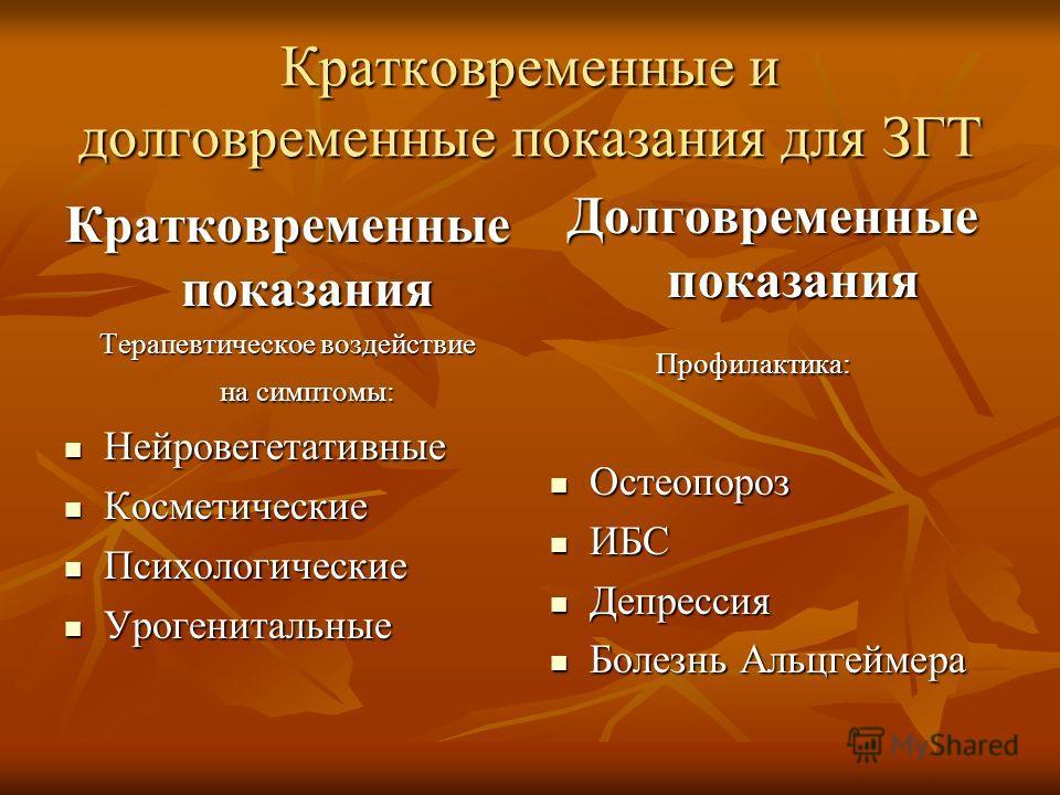 Кратковременные и долговременные показания для ЗГТ Кратковременные показания Терапевтическое воздействие на симптомы: Нейровегетативные Нейровегетативные Косметические Косметические Психологические Психологические Урогенитальные Урогенитальные Долгов