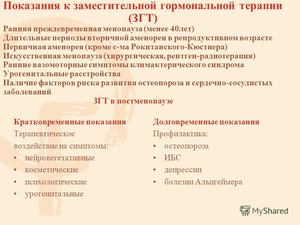 Показания к заместительной гормональной терапии (ЗГТ) Ранняя преждевременная менопауза (менее 40 лет) Длительные периоды вторичной аменореи в репродуктивном возрасте Первичная аменорея (кроме с-ма Рокитанского-Кюстнера) Искусственная менопауза (хирур