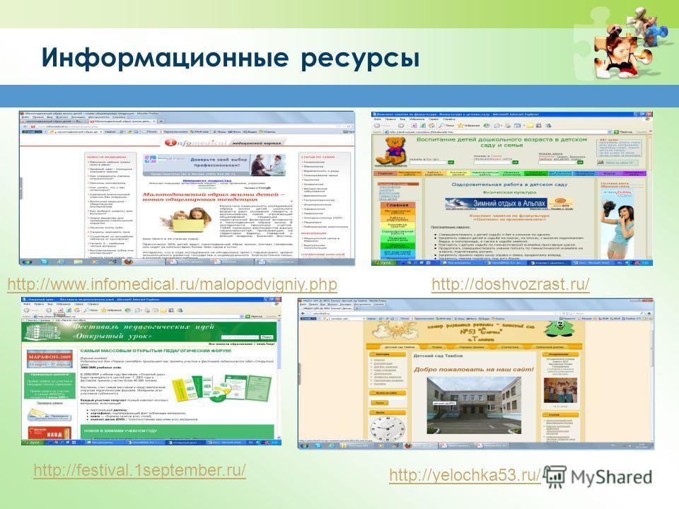 Информационные ресурсы http://www.infomedical.ru/malopodvigniy.php http://festival.1september.ru/ http://yelochka53.ru/ http://doshvozrast.ru/