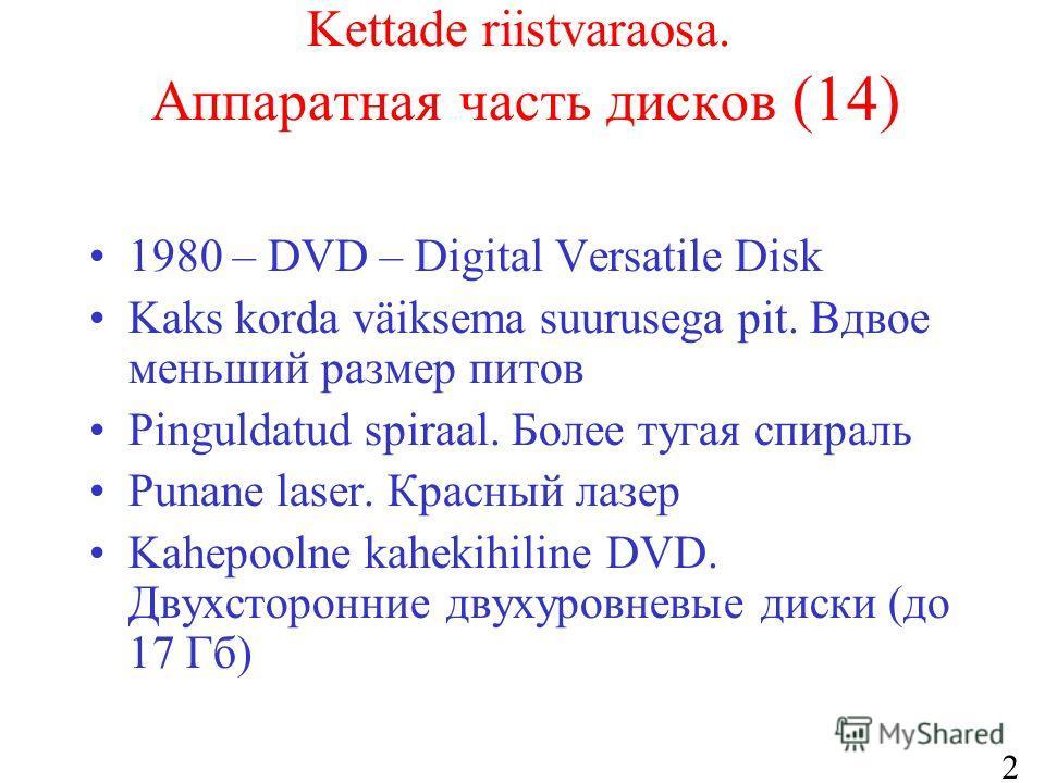 25 Kettade riistvaraosa. Аппаратная часть дисков (14) 1980 – DVD – Digital Versatile Disk Kaks korda väiksema suurusega pit. Вдвое меньший размер питов Pinguldatud spiraal. Более тугая спираль Punane laser. Красный лазер Kahepoolne kahekihiline DVD.