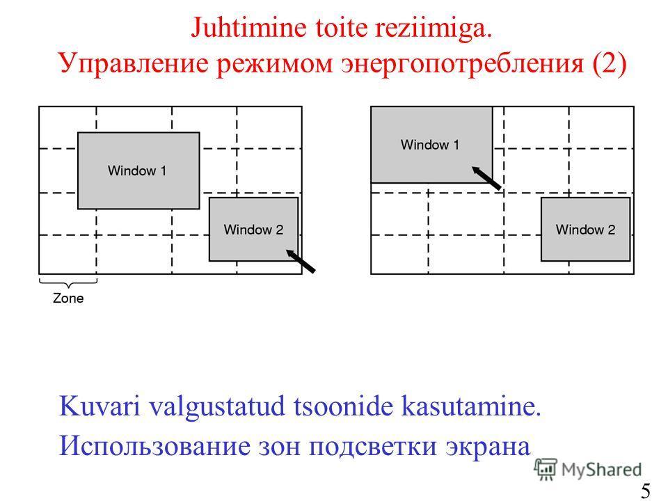 55 Juhtimine toite reziimiga. Управление режимом энергопотребления (2) Kuvari valgustatud tsoonide kasutamine. Использование зон подсветки экрана
