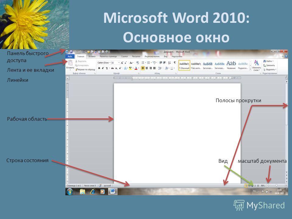 Microsoft Word 2010: Основное окно Панель быстрого доступа Лента и ее вкладки Линейки Рабочая область Строка состояния Полосы прокрутки Вид масштаб документа