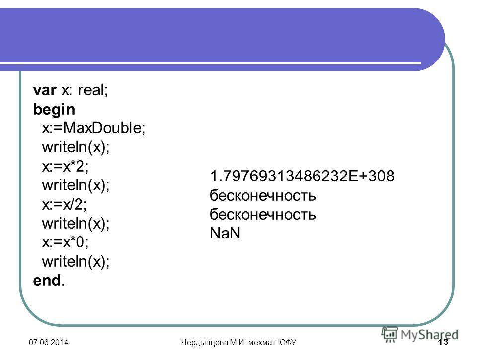 07.06.2014Чердынцева М.И. мехмат ЮФУ 13 var x: real; begin x:=MaxDouble; writeln(x); x:=x*2; writeln(x); x:=x/2; writeln(x); x:=x*0; writeln(x); end. 1.79769313486232E+308 бесконечность NaN