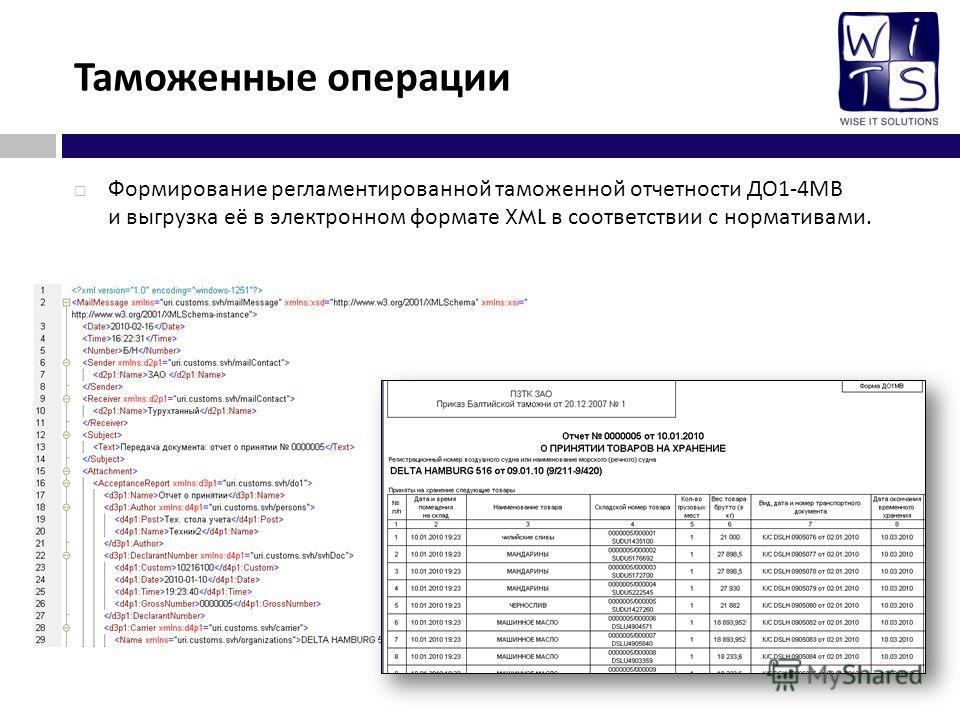 Таможенные операции Формирование регламентированной таможенной отчетности ДО 1-4 МВ и выгрузка её в электронном формате XML в соответствии с нормативами.