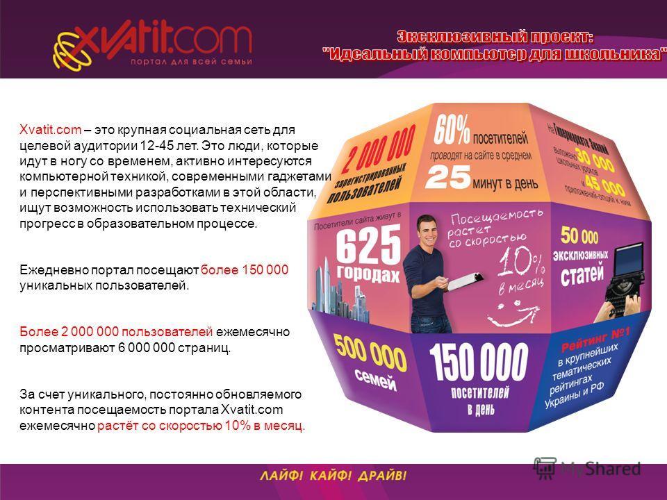 Xvatit.com – это крупная социальная сеть для целевой аудитории 12-45 лет. Это люди, которые идут в ногу со временем, активно интересуются компьютерной техникой, современными гаджетами и перспективными разработками в этой области, ищут возможность исп