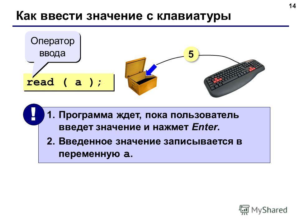 14 Как ввести значение с клавиатуры read ( a ); 1. Программа ждет, пока пользователь введет значение и нажмет Enter. 2. Введенное значение записывается в переменную a. ! Оператор ввода 5 5