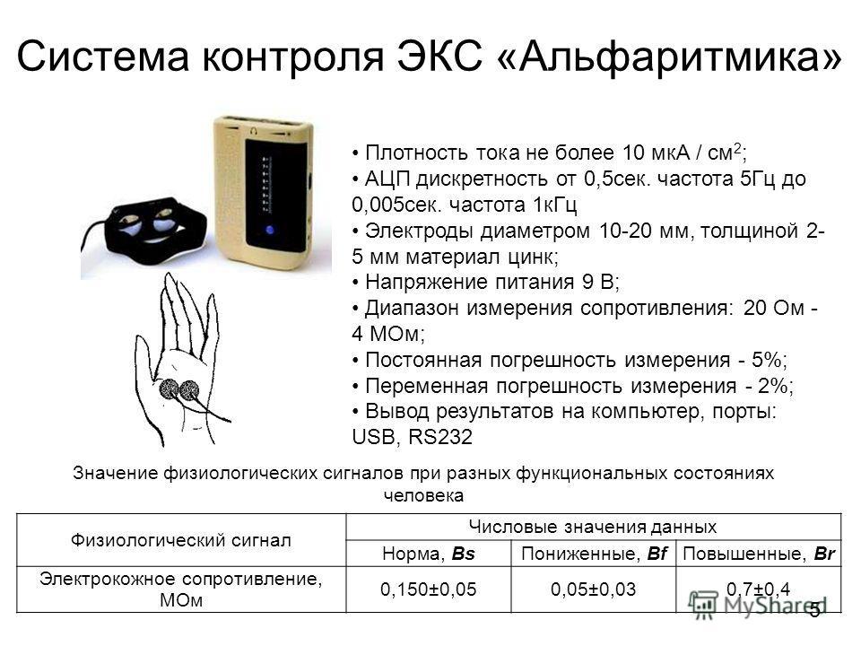 Система контроля ЭКС «Альфаритмика» Плотность тока не более 10 мкА / см 2 ; АЦП дискретность от 0,5 сек. частота 5Гц до 0,005 сек. частота 1 к Гц Электроды диаметром 10-20 мм, толщиной 2- 5 мм материал цинк; Напряжение питания 9 В; Диапазон измерения