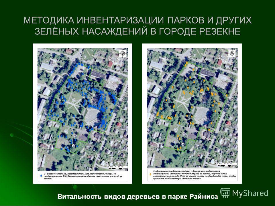 МЕТОДИКА ИНВЕНТАРИЗАЦИИ ПАРКОВ И ДРУГИХ ЗЕЛЁНЫХ НАСАЖДЕНИЙ В ГОРОДЕ РЕЗЕКНЕ Витальность видов деревьев в парке Райниса
