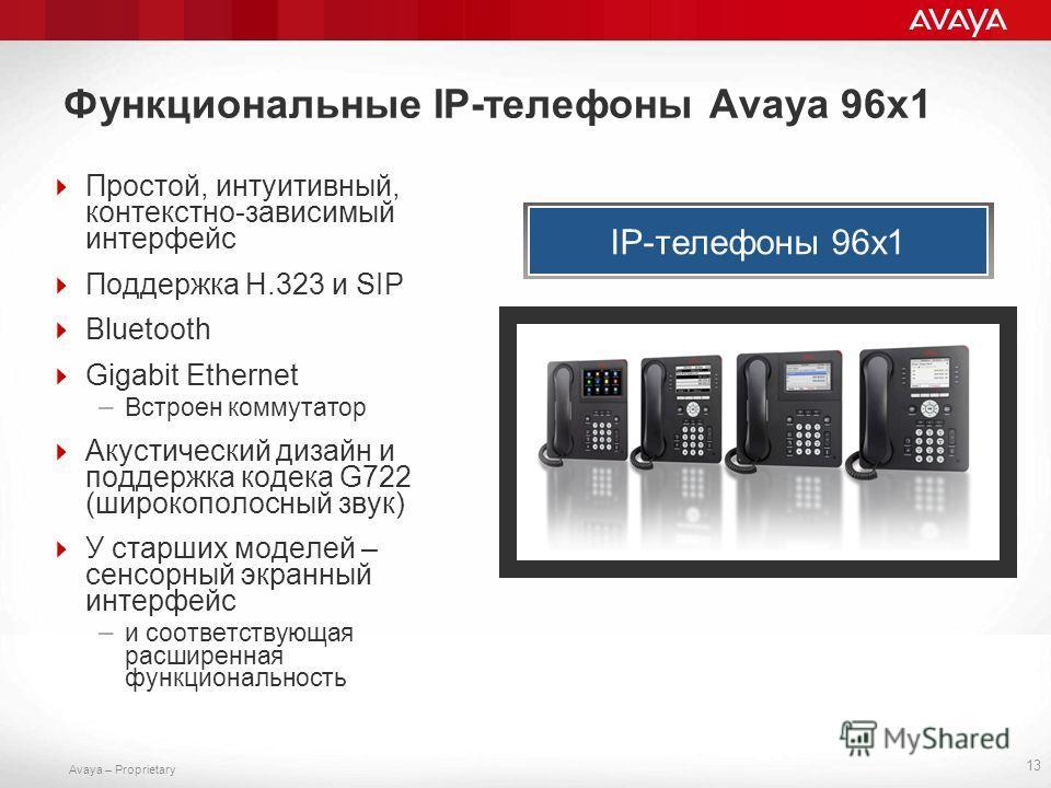 Avaya – Proprietary Функциональные IP-телефоны Avaya 96x1 Простой, интуитивный, контекстно-зависимый интерфейс Поддержка H.323 и SIP Bluetooth Gigabit Ethernet – Встроен коммутатор Акустический дизайн и поддержка кодека G722 (широкополосный звук) У с
