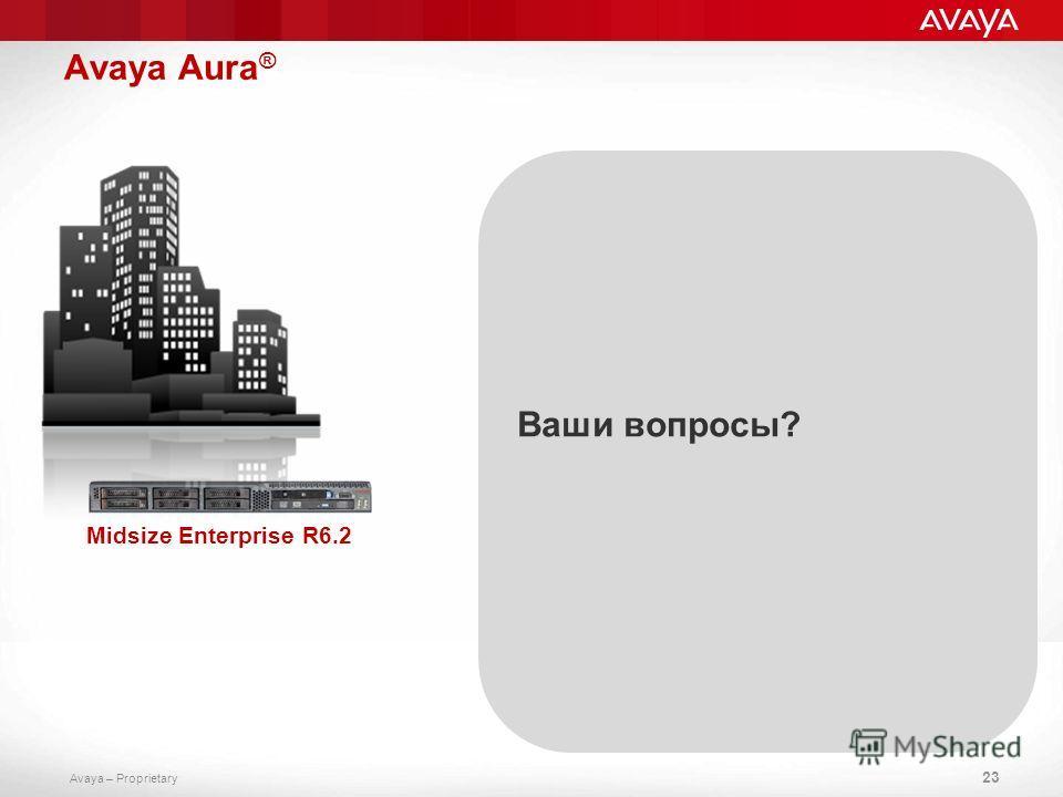 Avaya – Proprietary Avaya Aura ® 23 Midsize Enterprise R6.2 Ваши вопросы?