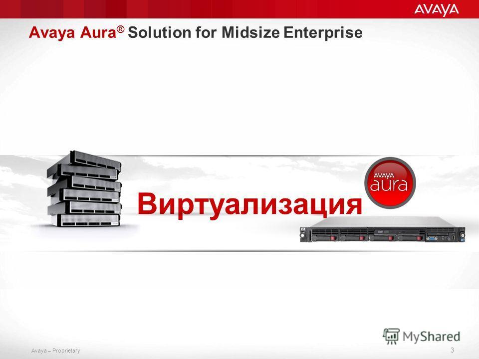 Avaya – Proprietary 3 Виртуализация Avaya Aura ® Solution for Midsize Enterprise