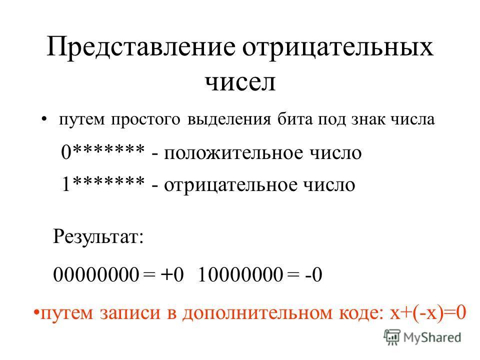 Представление отрицательных чисел путем простого выделения бита под знак числа 0******* - положительное число 1******* - отрицательное число Результат: 00000000 = +010000000 = -0 путем записи в дополнительном коде: x+(-x)=0
