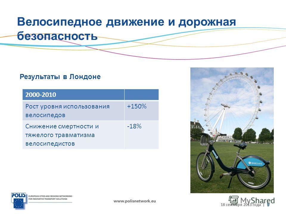 | Велосипедное движение и дорожная безопасность Результаты в Лондоне 18 сентября 2013 года 9 2000-2010 Рост уровня использования велосипедов +150% Снижение смертности и тяжелого травматизма велосипедистов -18%