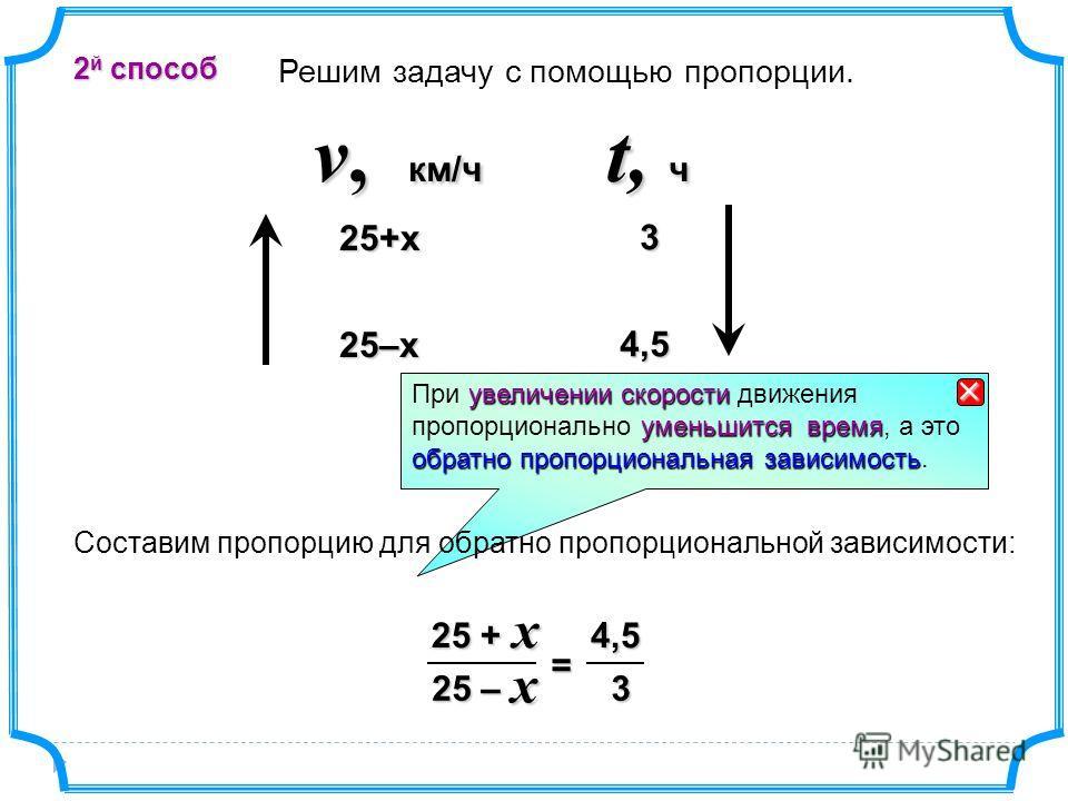 25+х t, ч v, км/ч 3 25–x 4,5 4,5 Решим задачу с помощью пропорции. 2 й спосаб 3 4,5 25 – 25 + = xx увеличении скорости При увеличении скорости движения уменьшится время обратно пропорциональная зависимость пропорционально уменьшится время, а это обра