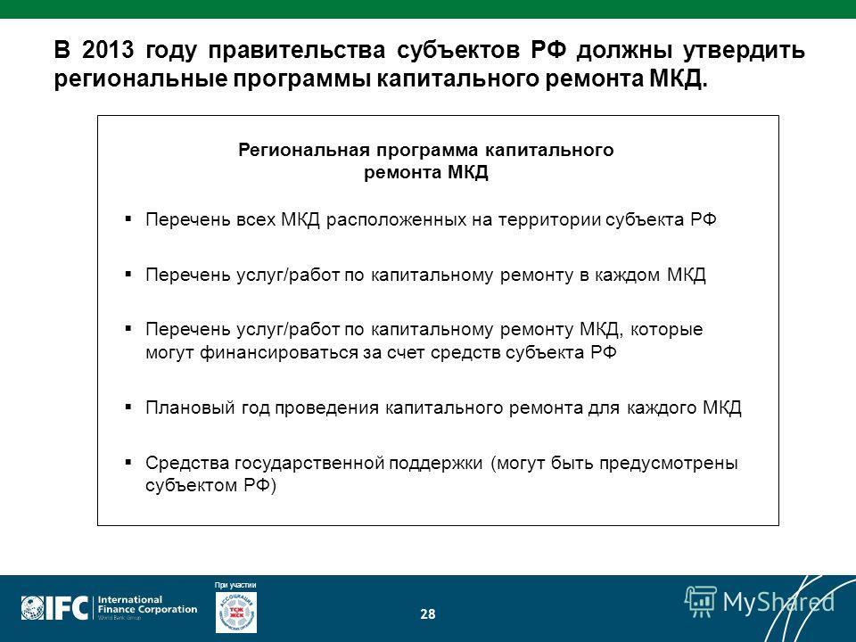 При участии 28 В 2013 году правительства субъектов РФ должны утвердить региональные программы капитального ремонта МКД. Перечень всех МКД расположенных на территории субъекта РФ Перечень услуг/работ по капитальному ремонту в каждом МКД Перечень услуг