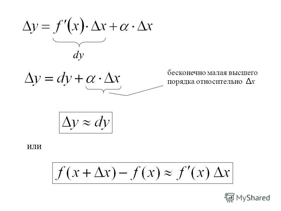 dy бесконечно малая высшего порядка относительно Δ х или