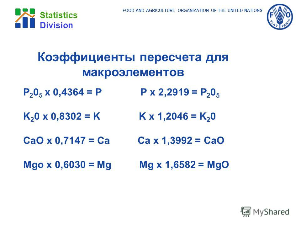 FOOD AND AGRICULTURE ORGANIZATION OF THE UNITED NATIONS Statistics Division Коэффициенты пересчета для макроэлементов P 2 0 5 x 0,4364 = P P x 2,2919 = P 2 0 5 K 2 0 x 0,8302 = K K x 1,2046 = K 2 0 CaO x 0,7147 = Ca Ca x 1,3992 = CaO Mgo x 0,6030 = M