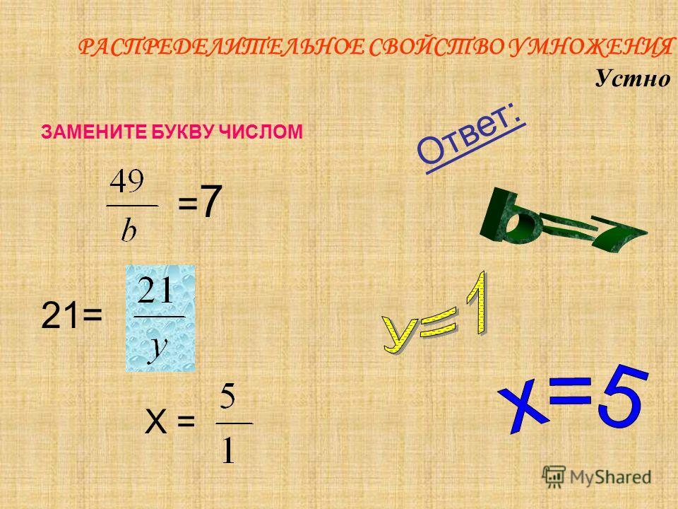 РАСПРЕДЕЛИТЕЛЬНОЕ СВОЙСТВО УМНОЖЕНИЯ Разминка Устно ЗАМЕНИТЕ БУКВУ ЧИСЛОМ = = запись целых чисел в виде обыкновенной дроби 45 = 9 =