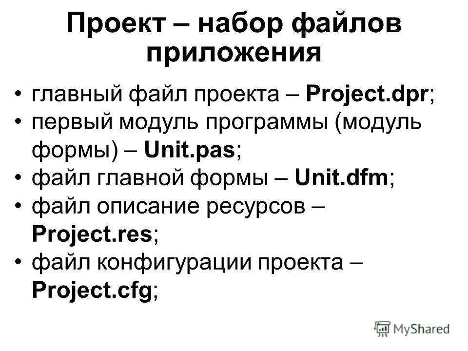Проект – набор файлов приложения главный файл проекта – Project.dpr; первый модуль программы (модуль формы) – Unit.pas; файл главной формы – Unit.dfm; файл описание ресурсов – Project.res; файл конфигурации проекта – Project.cfg;