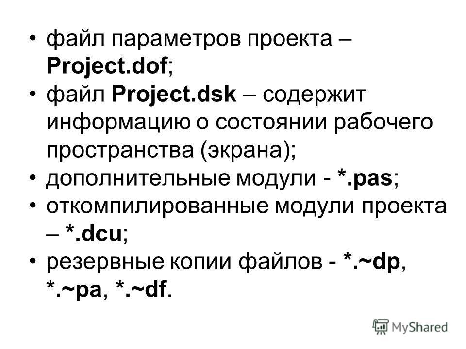 файл параметров проекта – Project.dof; файл Project.dsk – содержит информацию о состоянии рабочего пространства (экрана); дополнительные модули - *.pas; откомпилированные модули проекта – *.dcu; резервные копии файлов - *.~dp, *.~pa, *.~df.