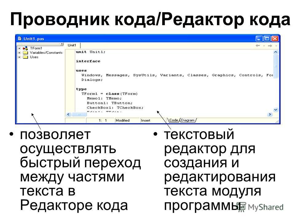 Проводник кода/Редактор кода позволяет осуществлять быстрый переход между частями текста в Редакторе кода текстовый редактор для создания и редактирования текста модуля программы