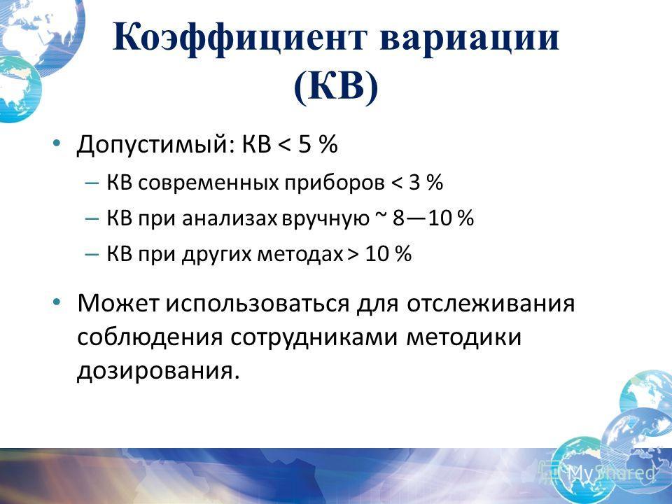 Допустимый: КВ < 5 % – КВ современных приборов < 3 % – КВ при анализах вручную ~ 810 % – КВ при других методах > 10 % Может использоваться для отслеживания соблюдения сотрудниками методики дозирования. Коэффициент вариации (КВ)